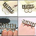 Bague 2 Doigts Fashion Les Septs Nains Sur une Bûche Métal Couleur Bronze