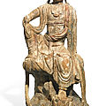 A carved and polychrome wood figure of guanyin, liao dynasty (907-1125)