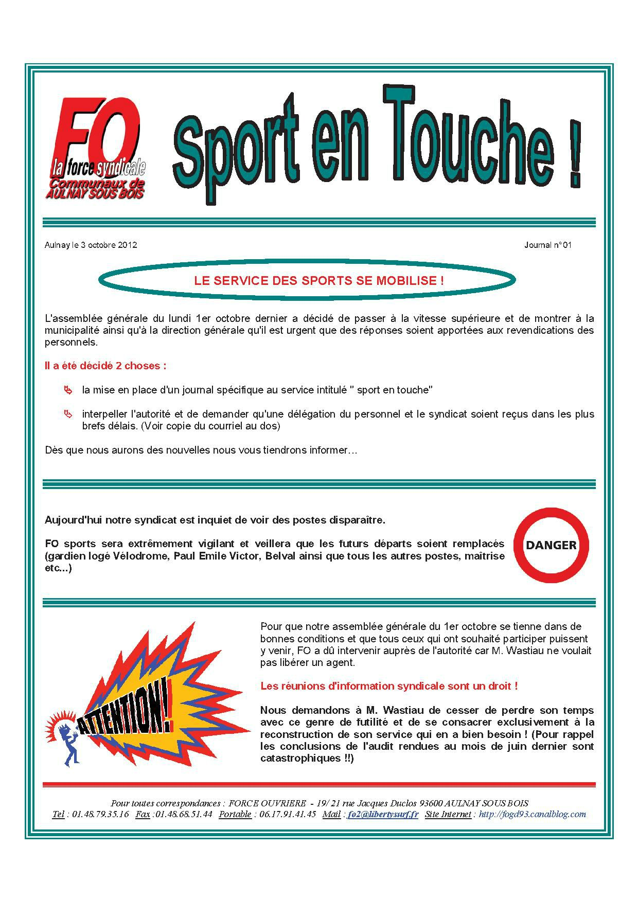 Aulnay sports JOURNAL N° 01