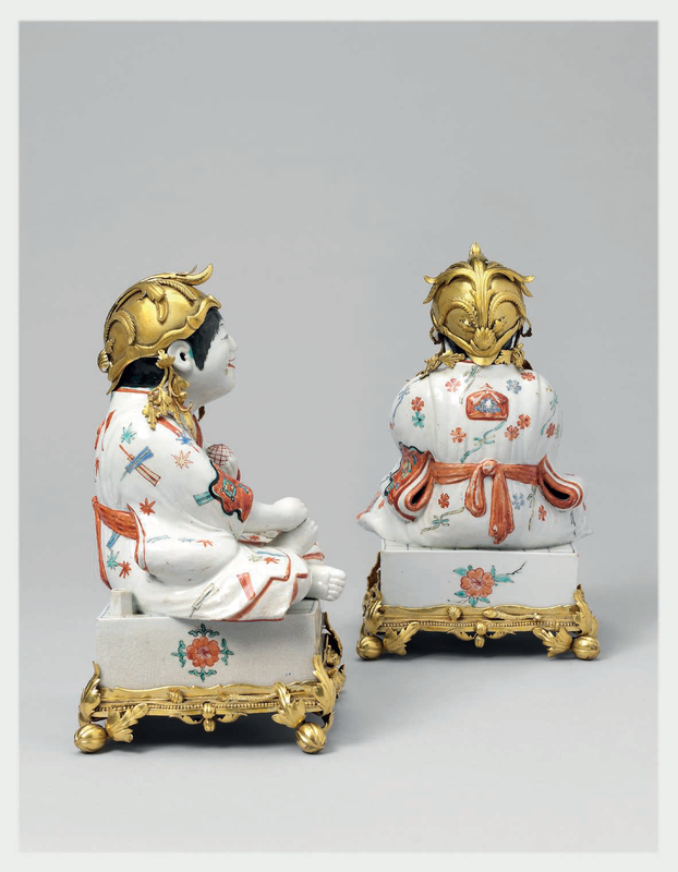 A Pair of Kakiemon Models of Karako (Chinese Boys) Seated on Go Boards with French Gilt Bronze Mounts 4