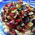 Légumes confits sur omelette au fromage