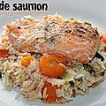 Pavé de saumon et sa poêlée de riz, courgette et carotte (cookeo)