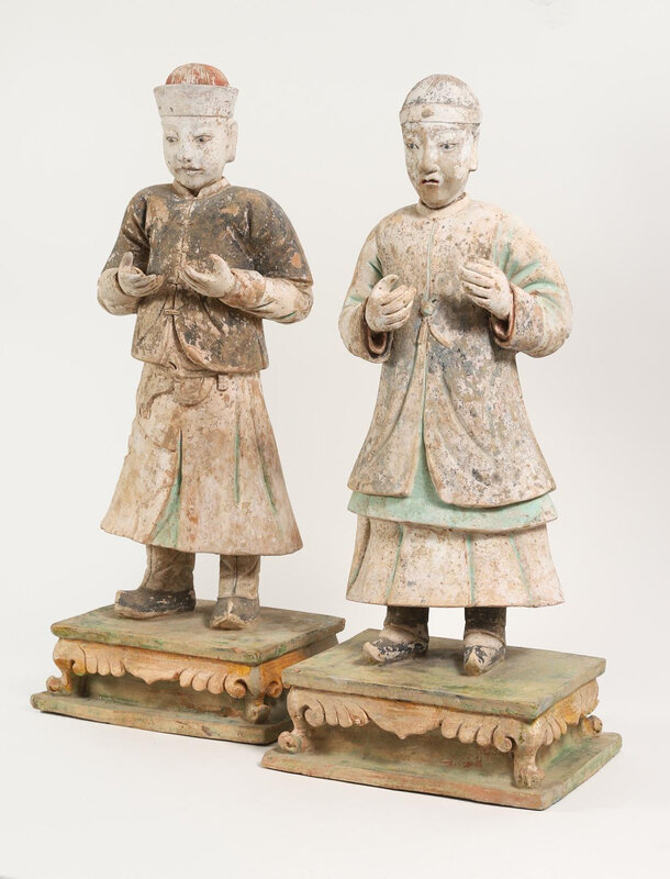 Two_Large_Chinese_Green_and_Amber_Glazed_and_Painted_Pottery_Figures_of_Off677_1
