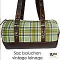 Sac baluchon original bowling vintage lainage carreaux vert / cuir synthétique marron chic pour homme / femme par crapule factory