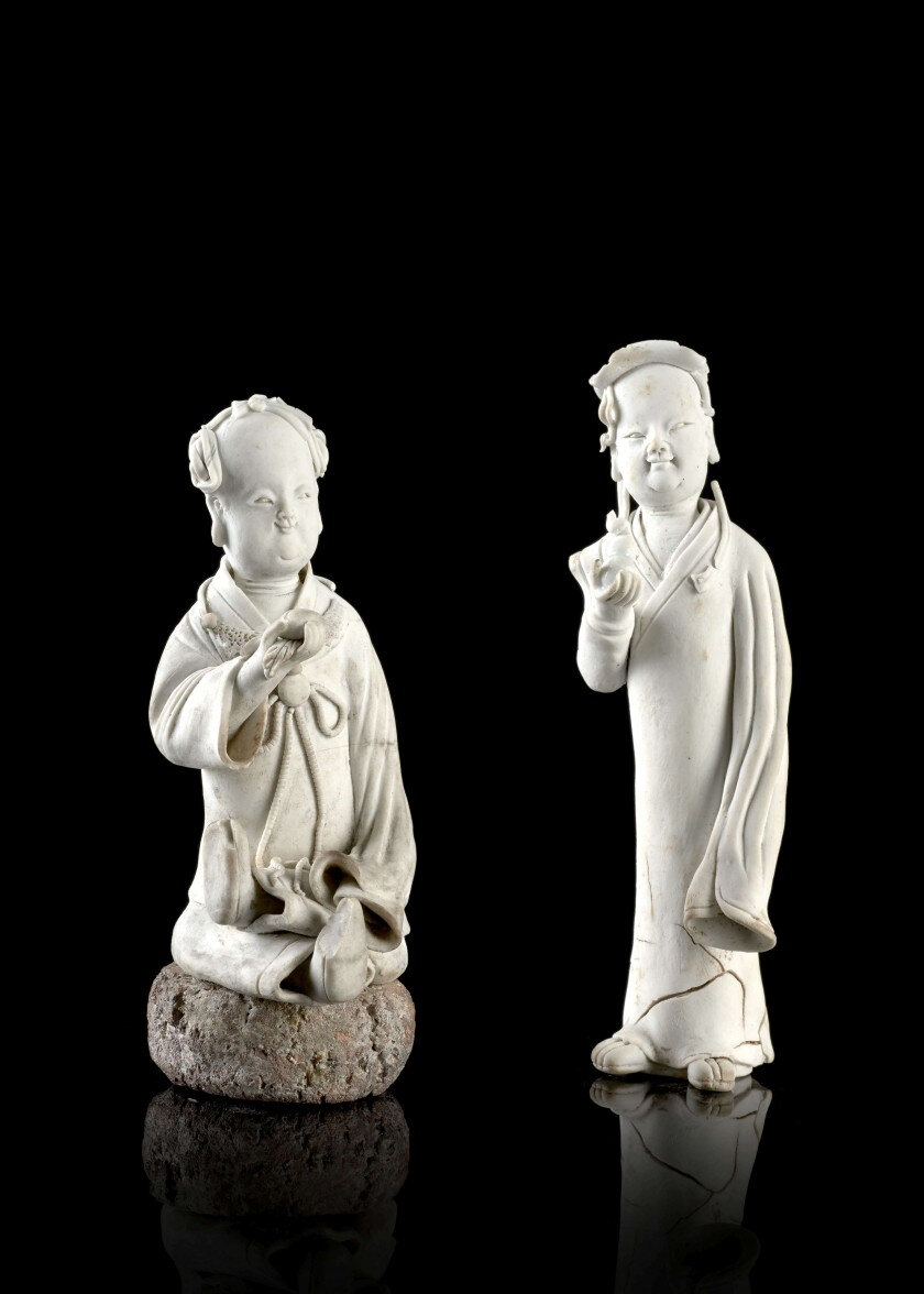 Two Qingbai earthenware figures, China, Yuan dynasty (1279-1368)