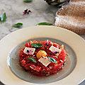 Tartare de tomates artichauts et parmesan