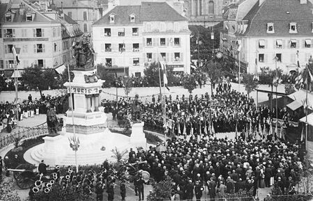 CPA Belfort Inauguration 3 Sièges 1913 Monument 2