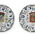 Two rare famille verte armorial 'Province' dishes for the Dutch Market, Circa 1720