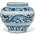 A rare blue and white 'dragon' jar, Yuan dynasty (1279-1368)