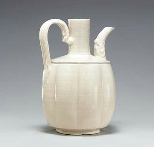 A white porcelain lobed ewer, Liao-Northern Song dynasty, 10th-11th century