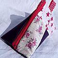 Berlingot girly effet patchwork en simili cuir et coton, idéal en porte-monnaie, pochette à tétine ou sac pour la petite souris
