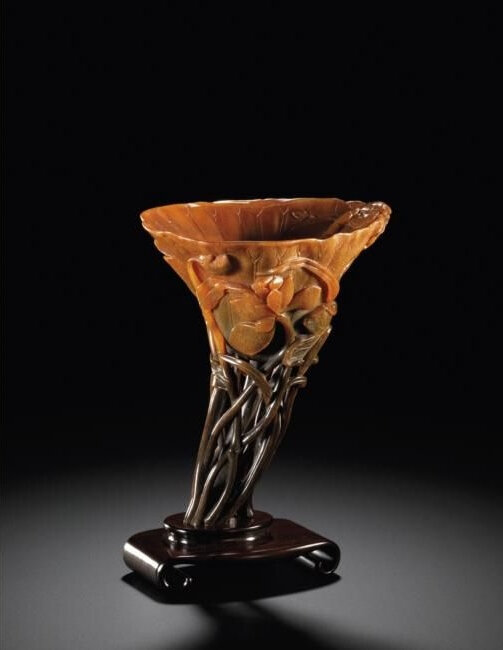A Reticulated Stem 'Lotus Leaf' Rhinoceros Horn Libation Cup, 17th Century