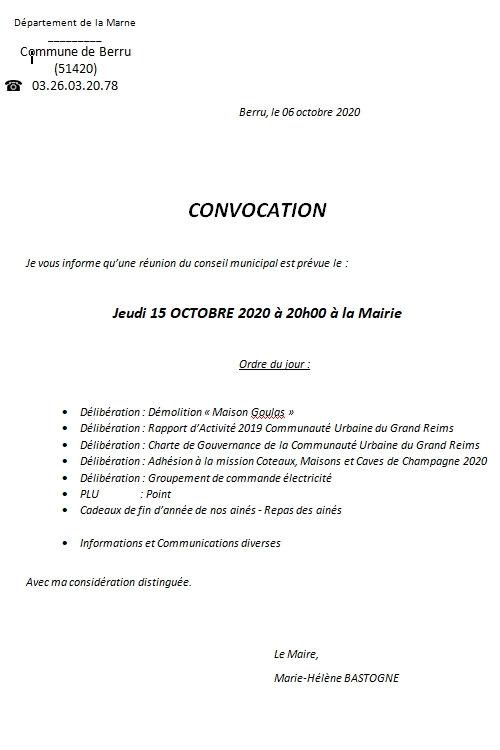 Convocation conseil municipal 15 octobre 2020