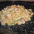 Coquillettes au saumon et courgette sauce boursin
