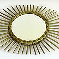 Déco vintage ... grand miroir en rotin * azalée