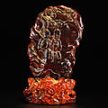 An amber carving and a stand; stand, qing dynasty, 18th century, carving, qing dynasty, 19th century
