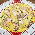 Omelette aux restes des saumon et tagliatelles
