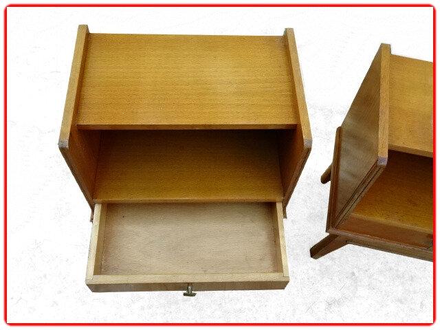 table de chevet vintage bois clair
