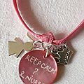 Bracelet d'allaitement (Keep calm & nurse) - breloque fillette et couronne Princess métal
