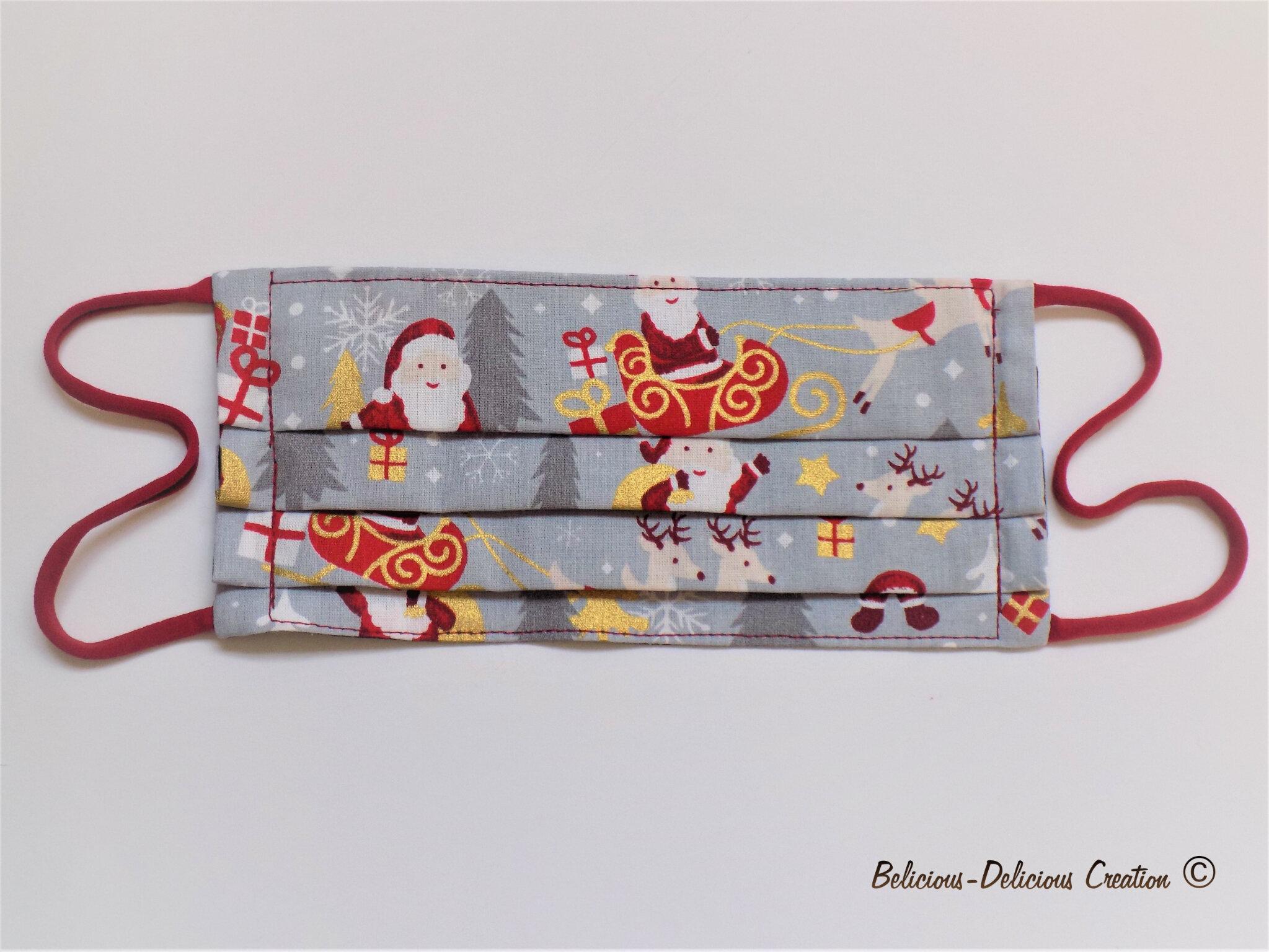 Unisex Original Masque visage en Tissu!! XMAS !!en Coton Rouge T:18cm wide 9cm Long Extensible à 17cm belicious-delicious