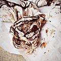 Meringue marbrée au chocolat, ou comment recycler les restes en beauté