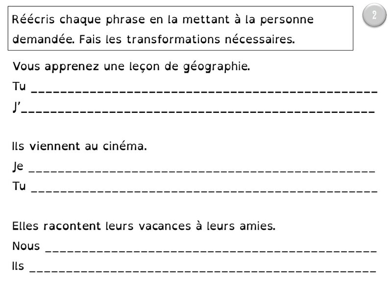 CM1 phrases à transposer