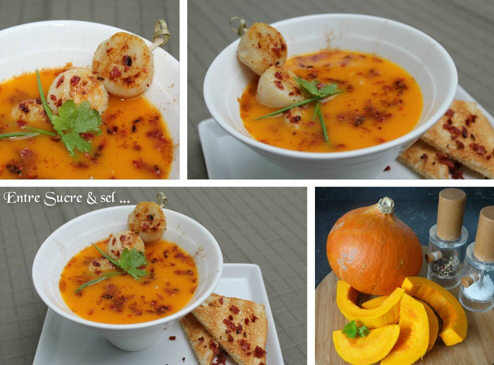 Soupe au potiron, Saint-Jacques et crumble de chorizo