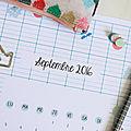 Calendriers mensuels : septembre 2016 (gratuit - à imprimer)
