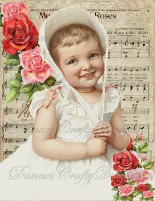 dcd vc112 VICTORIAN CHILD on ROMANTIC SHEET MUSIC and PINK ROSES 8_5x11 DanaesCraftyDesigns watermark