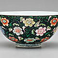 An unusual famille rose black-ground bowl, porcelain: yongzheng mark and period, enamels possibly later added