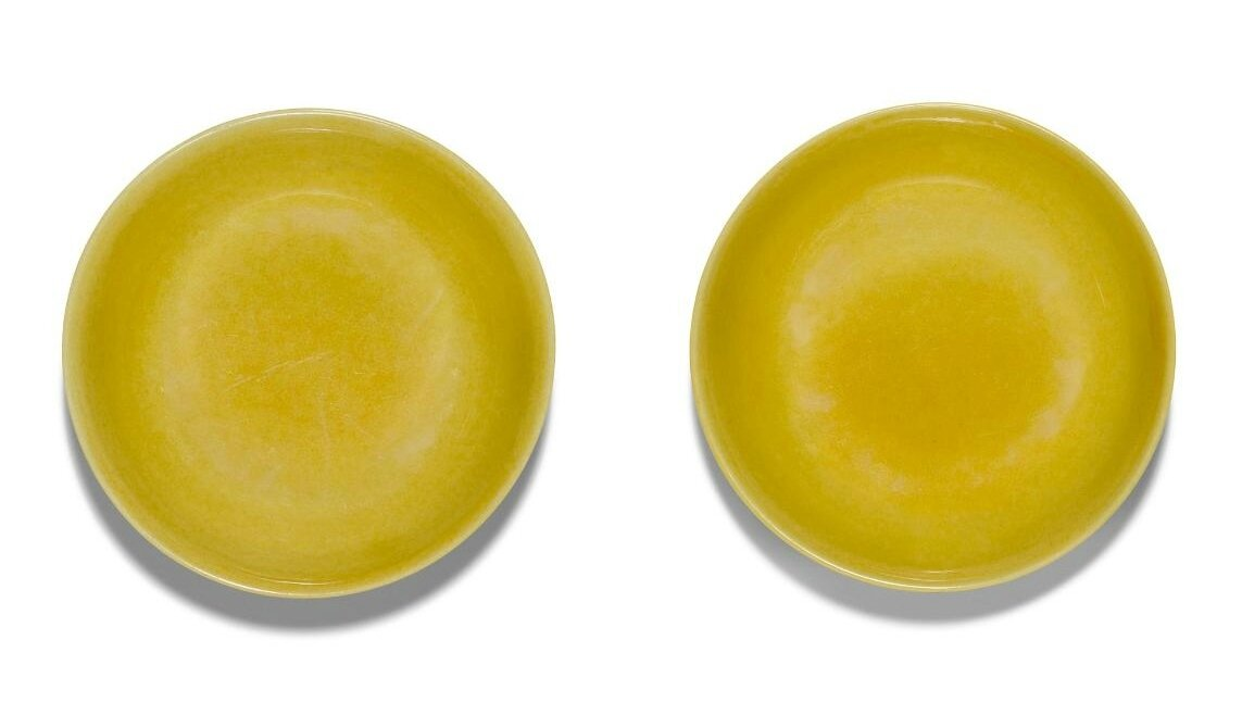A pair of fine and rare imperial yellow-glazed dishes, Zhengde marks and period (1506-1521)