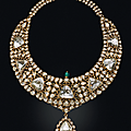 'the nizam of hyderabad necklace'. an antique diamond, emerald and enamel necklace