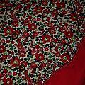 Plaid-Edredon en Liberty d'anjo rouge, dos coton rouge, passepoil rouge herme, 100x150 cm (6)