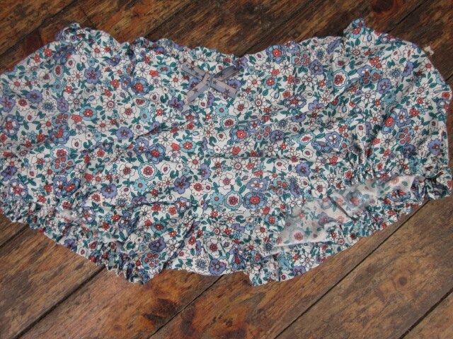Culotte en coton fleuri ciel vert rouge - noeud étoilé bleu gris