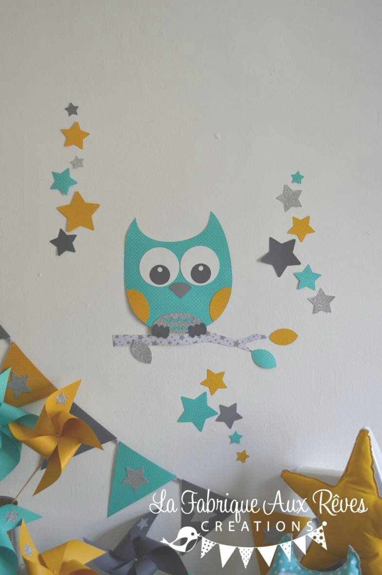 stickers chouette hibou étoiles turquoise caraïbe jaune moutarde gris argenté