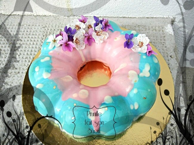 entremet couronne bi colore fleur mangue specuuloos caramel prunillefee
