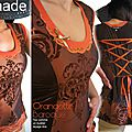 Bustier Top Femme en taffetas changeant Marron Orange