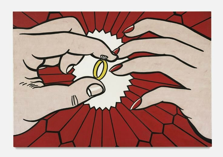 Roy Lichtenstein, The Ring (Engagement), signed and dated '62 on the reverse