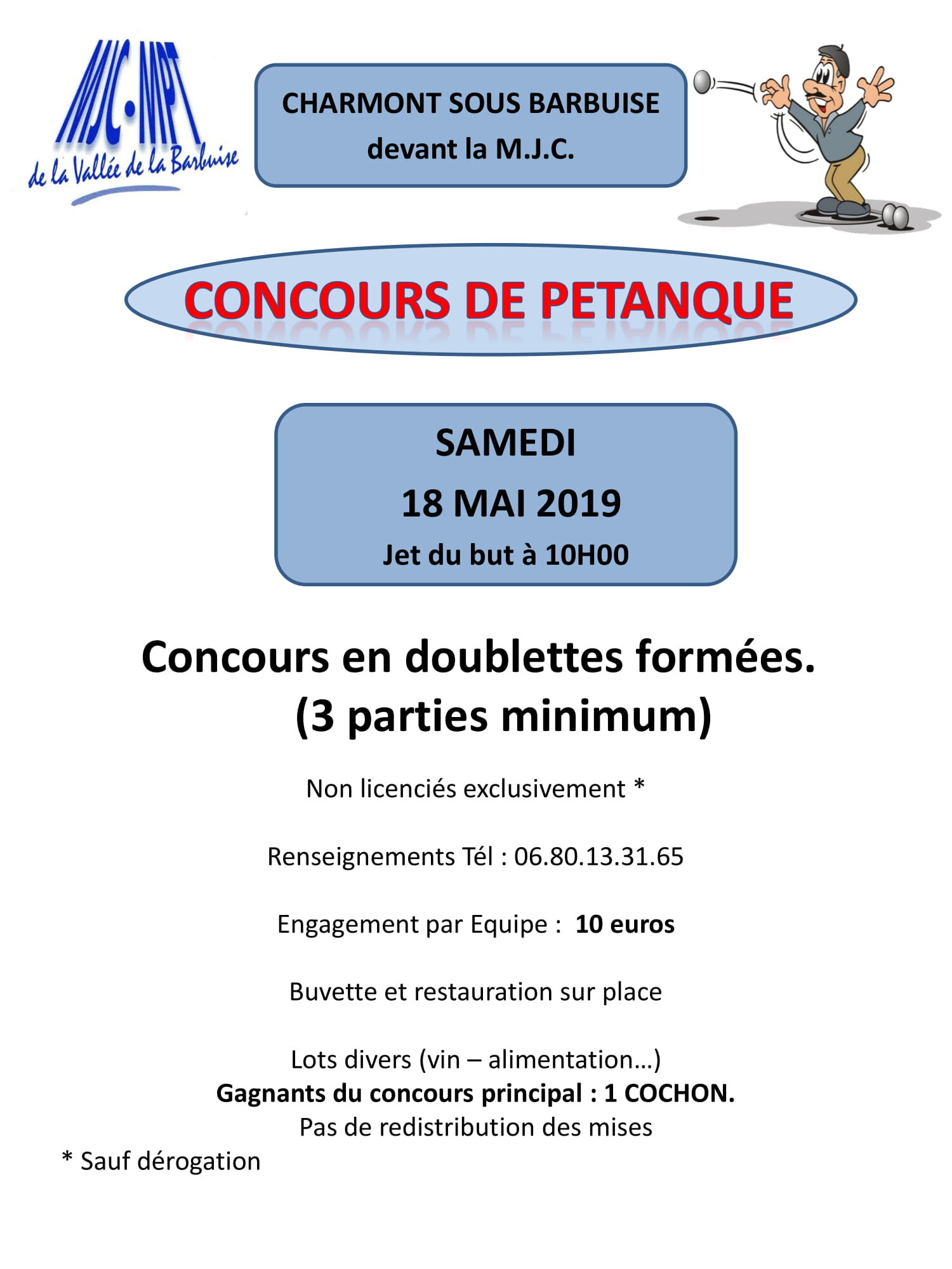 Concours de pétanque - 18 mai