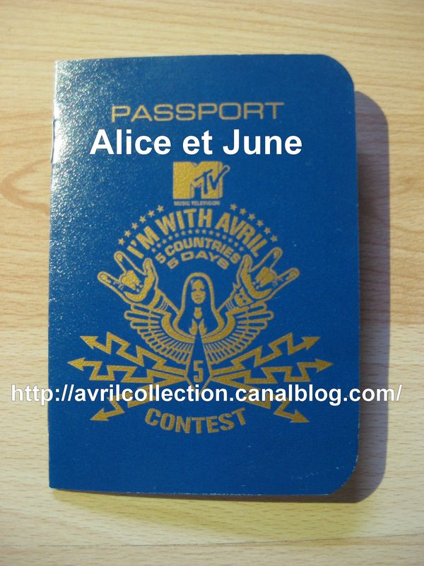 Passeport I'm With Avril - 5 countries 5 days contest MTV (2003)