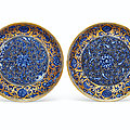 A very rare pair of gilt and silvered underglaze-blue decorated dishes, yongzheng six-character marks and of the period (1723-17