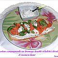 Tartine campagnarde au fromage fouetté échalotes/ciboulettes et saumon fumé ...