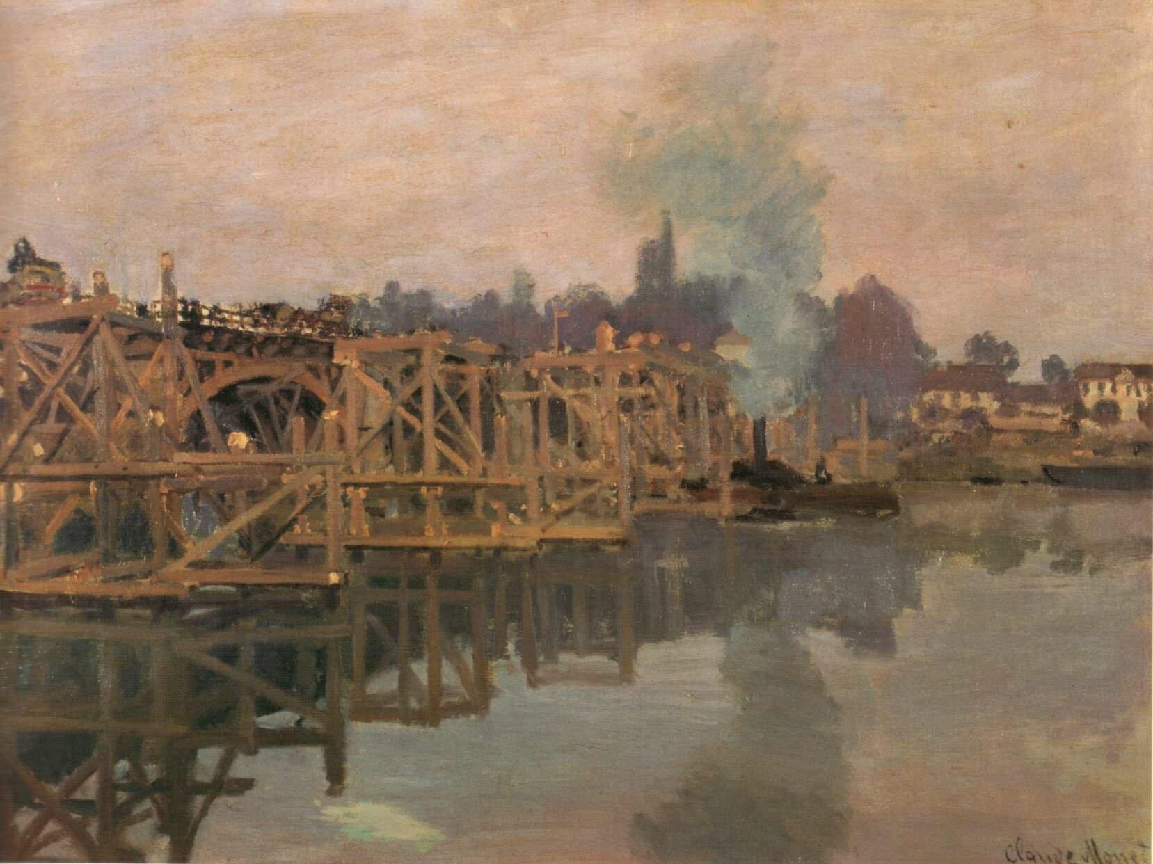 Monet, pont d'Argenteuil en réparation