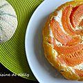 Tarte feuilletée au melon et chèvre frais aux amandes et romarin