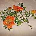 trois ROSES avec leur branche et epines