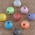 Lot de 50 perles pleines de strass ( 10 mm) (3€ port compris)