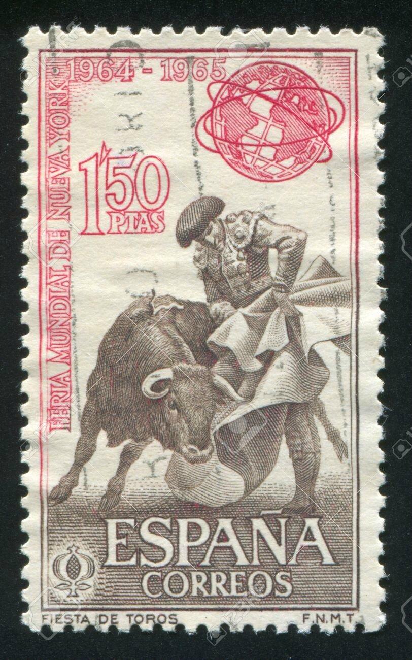 16285098-ESPA-A-CIRCA-1960-sello-impreso-por-Espa-a-muestra-Torero-Corrida-alrededor-de-1960-Foto-de-archivo