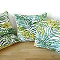 Housses de coussin carrées et rectangles - tissu blanc épais imprimé grandes feuilles de palmier - vert