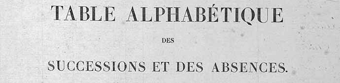 Table alphabétique