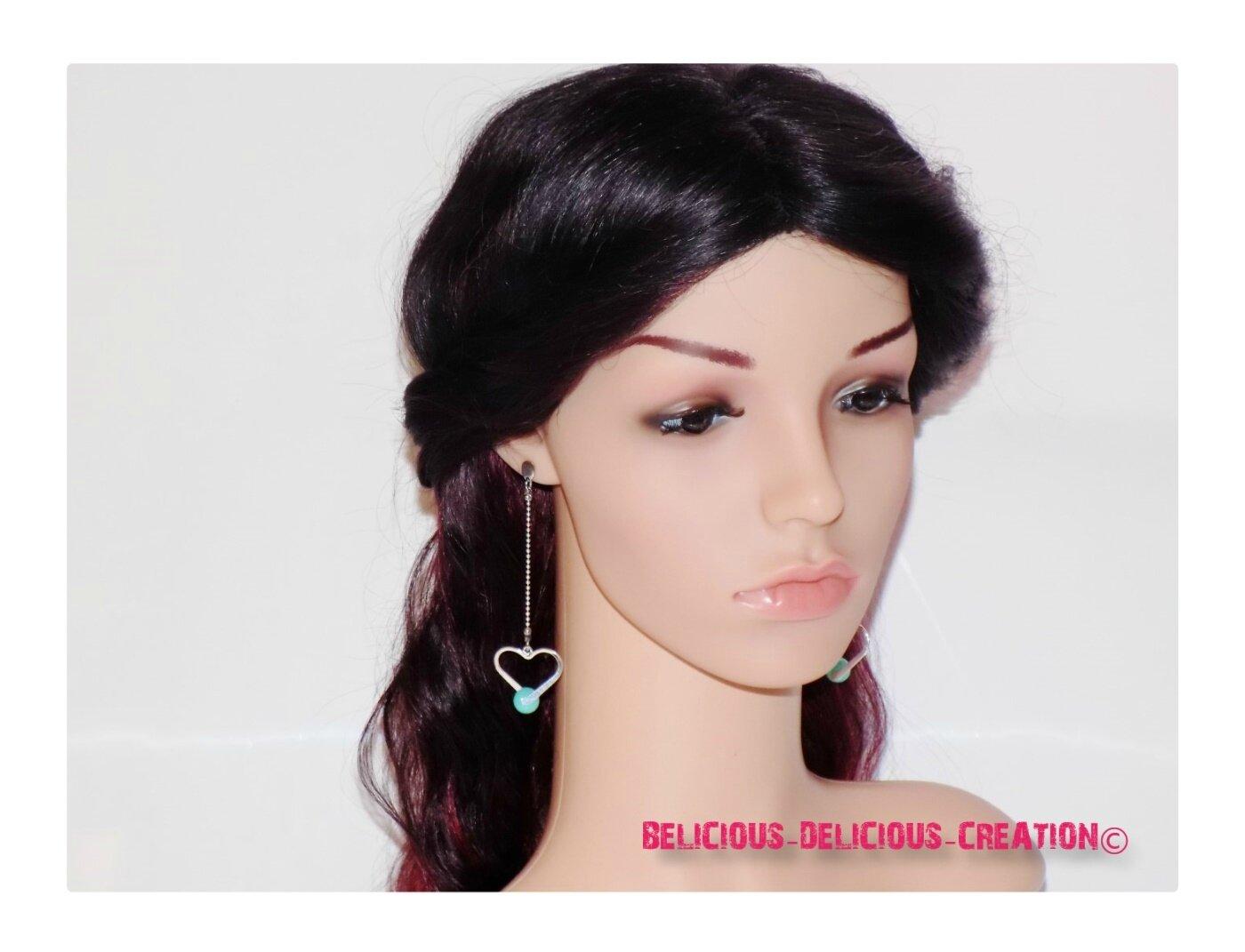 Original Boucles d'oreilles !! BLUE PEARLHEART !! en metal argent T: 8.5cm BELICIOUS-DELICIOUS-CREATION